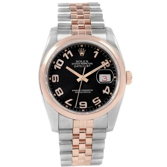 Rolex Rolex Datejust 36 Steel Rose Gold Black Dial Watch 116201 Box Papers Image 1