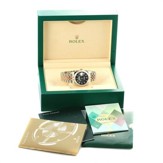 Rolex Rolex Datejust 36 Steel Rose Gold Black Dial Watch 116201 Box Papers Image 11