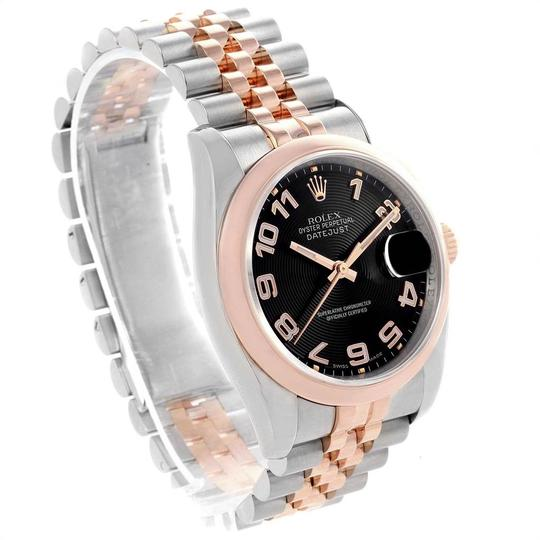Rolex Rolex Datejust 36 Steel Rose Gold Black Dial Watch 116201 Box Papers Image 2