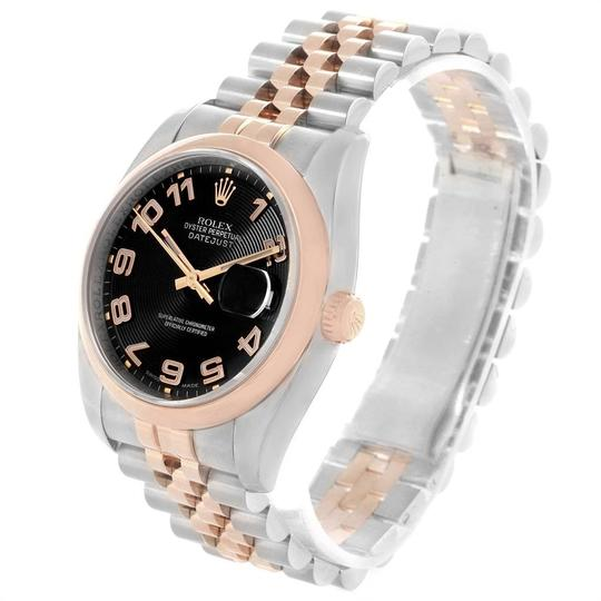 Rolex Rolex Datejust 36 Steel Rose Gold Black Dial Watch 116201 Box Papers Image 3