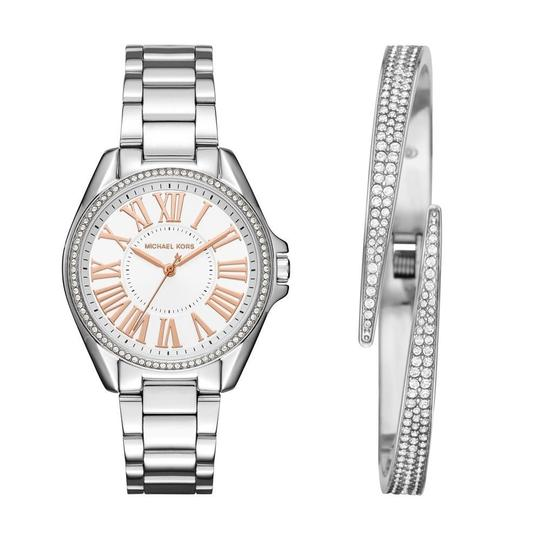 Michael Kors MICHAEL KORS KACIE SILVER TONE WATCH AND PAVE BRACELET GIFT SET Image 2