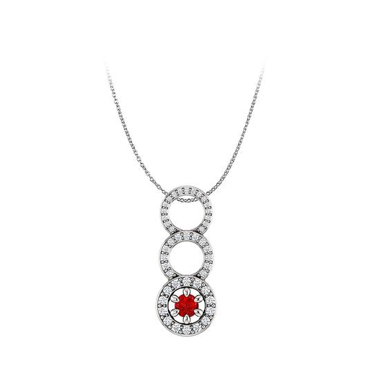 Preload https://img-static.tradesy.com/item/25140369/red-stunning-ruby-and-cz-graduated-circle-pendant-14k-gold-necklace-0-0-540-540.jpg