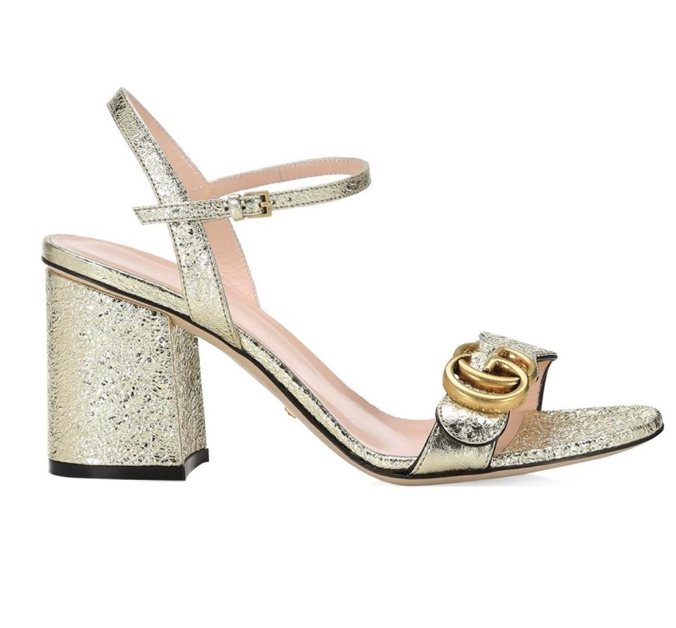 89231222f53 Gucci Gold Marmont Gg Ankle Strap 6.5 Sandals Size EU 36.5 (Approx ...