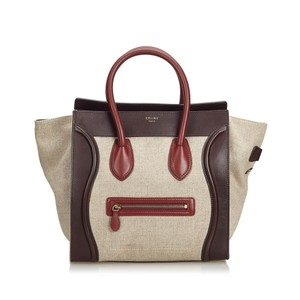 Céline 9cceto005 Vintage Canvas Leather Tote in Brown