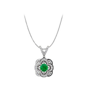 Marco B Round Emerald Artful Gold Pendant and V Shape CZ Bail