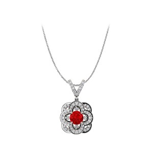 Marco B Ruby and CZ Accented V Shape Bail Fancy Pendant Gold