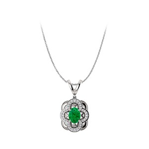 Marco B Faceted Cut Emerald and CZ Accented White Gold Pendant