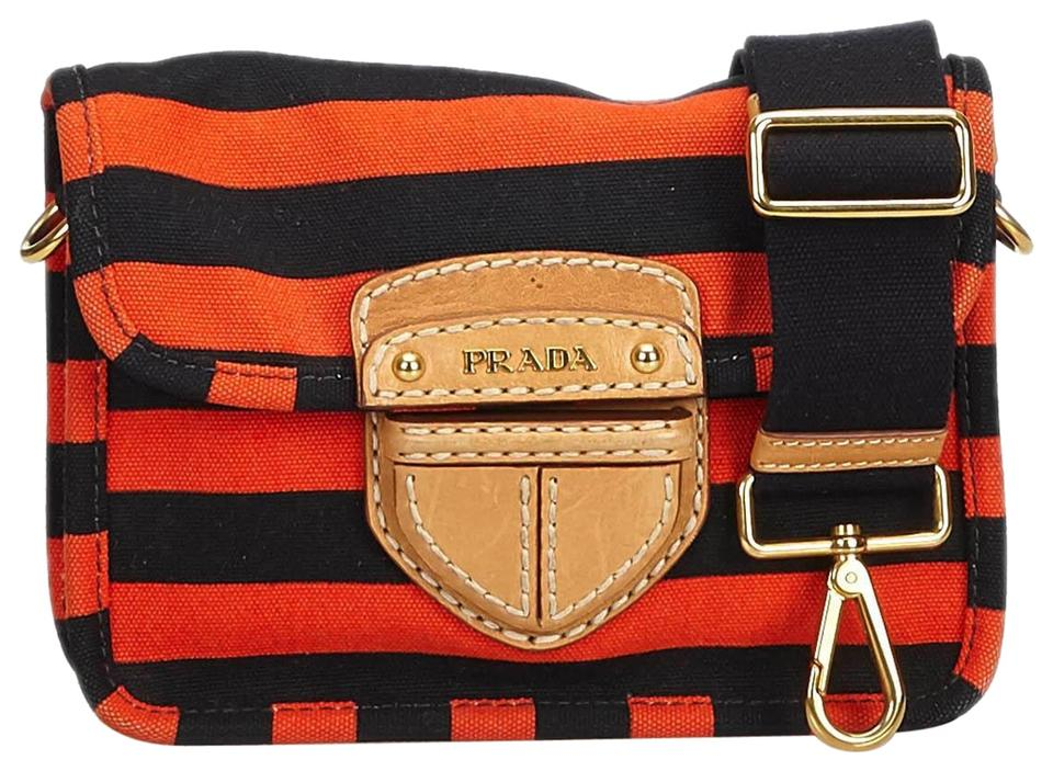 ebcd3f11b515 Prada Canapa Fabric Righe Italy Red Canvas Leather Cross Body Bag ...