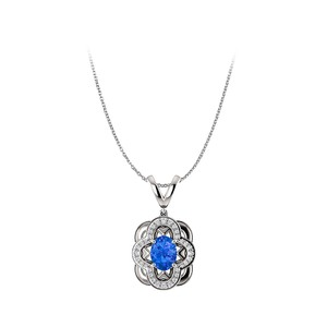 Marco B Sapphire and CZ Accented Oval Pendant in 14K White Gold
