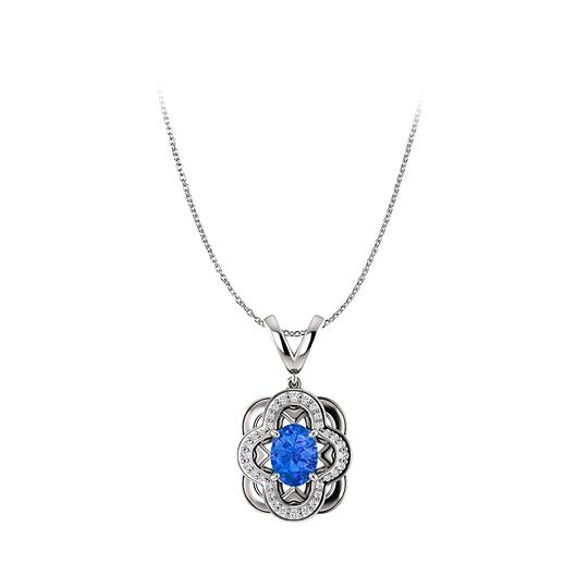 Preload https://img-static.tradesy.com/item/25140673/blue-sapphire-and-cz-accented-oval-pendant-in-14k-white-gold-necklace-0-0-540-540.jpg