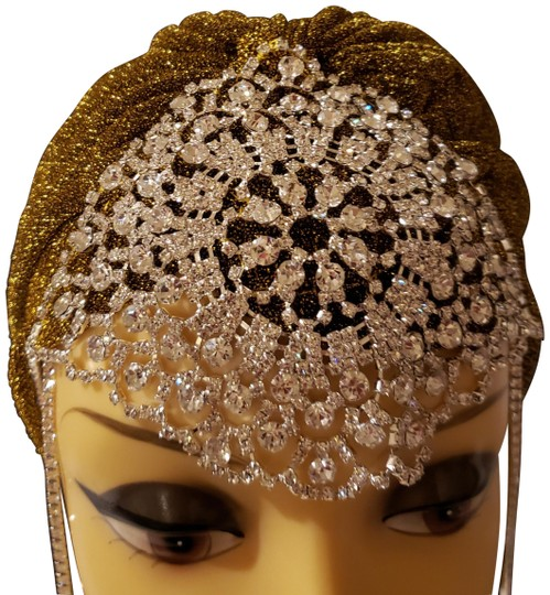 Unbranded Brand New Gold glam turban with silver crystal jewels Image 0