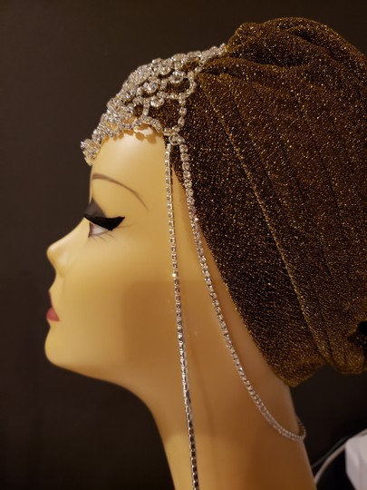 Unbranded Brand New Gold glam turban with silver crystal jewels Image 1