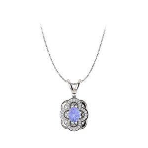 Marco B Tanzanite and CZ Accented Artful Style Oval Pendant