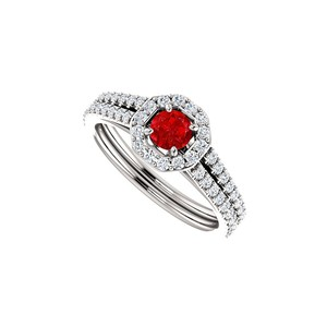Marco B Ruby and CZ 14K White Gold Octagon Style Halo Ring
