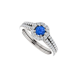 Marco B Sapphire CZ 14K White Gold Octagon Style Halo Ring
