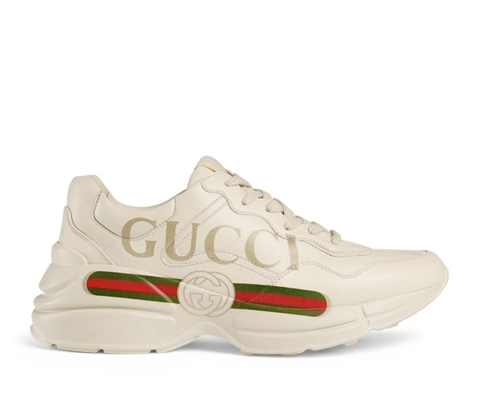 8bfbb56d20 Gucci White Rhyton Logo Leather Sneakers 9.5 Sneakers Size EU 39.5 (Approx.  US 9.5) Regular (M, B)