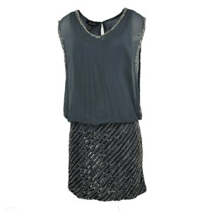 ebde38011bffb JKara Sheath Beaded Chiffon Blouson Dress