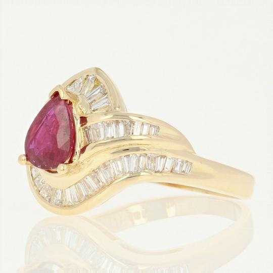 Other Ruby & Diamond Bypass Ring - 18k Yellow Gold Halo Baguette U9079 Image 1