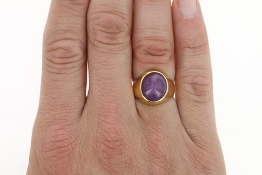 Other Men's Star Ruby Ring - 18k Yellow Gold Solitaire Oval Cabochon U9658 Image 8