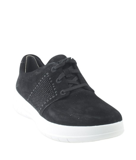 Sporty-Pop Sneakers Suede Black Flats Image 0
