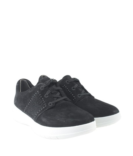 Sporty-Pop Sneakers Suede Black Flats Image 1