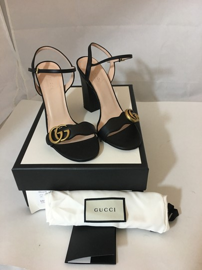 Gucci Marmont Gold Gg Black Sandals Image 1