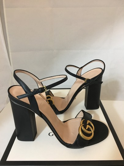 Gucci Marmont Gold Gg Black Sandals Image 2