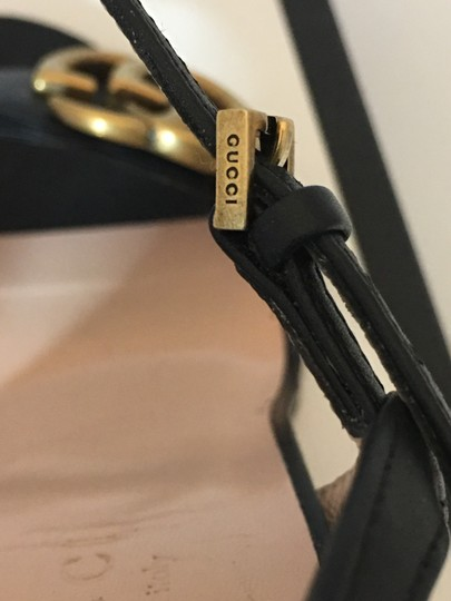 Gucci Marmont Gold Gg Black Sandals Image 7