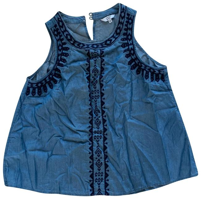 Preload https://img-static.tradesy.com/item/25141099/blue-and-black-embroidered-chambray-blouse-size-2-xs-0-1-650-650.jpg
