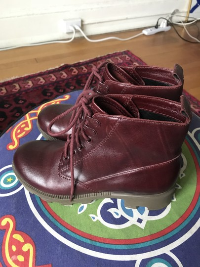 Theyskens' Theory Combat Maroon burgundy Boots Image 2