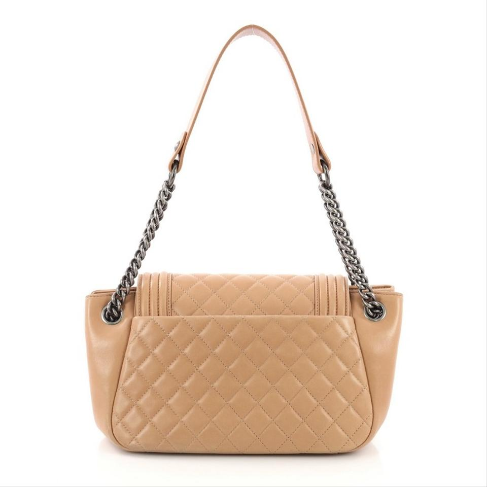 7093aabc1b1f1d Chanel Classic Flap Boy Accordion Quilted Small Light Brown Lambskin ...