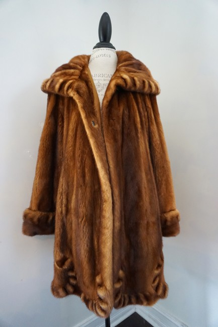 DASCO Mink Sable Mink Hooded Mink Swing Directional Mink Fur Coat Image 4