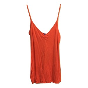Emma & Sam Sleeveless Cotton Ruched Ruffle Modal Top Dark Orange