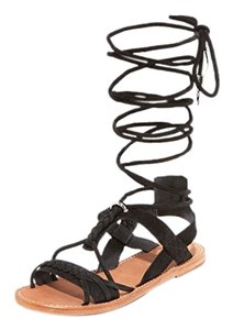 Ash Wrap Flats Suede Braided Black Sandals