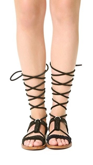 Ash Wrap Flats Suede Braided Black Sandals Image 1