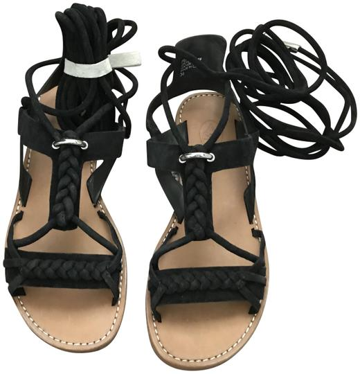 Ash Wrap Flats Suede Braided Black Sandals Image 2