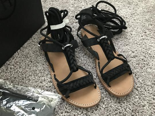 Ash Wrap Flats Suede Braided Black Sandals Image 4