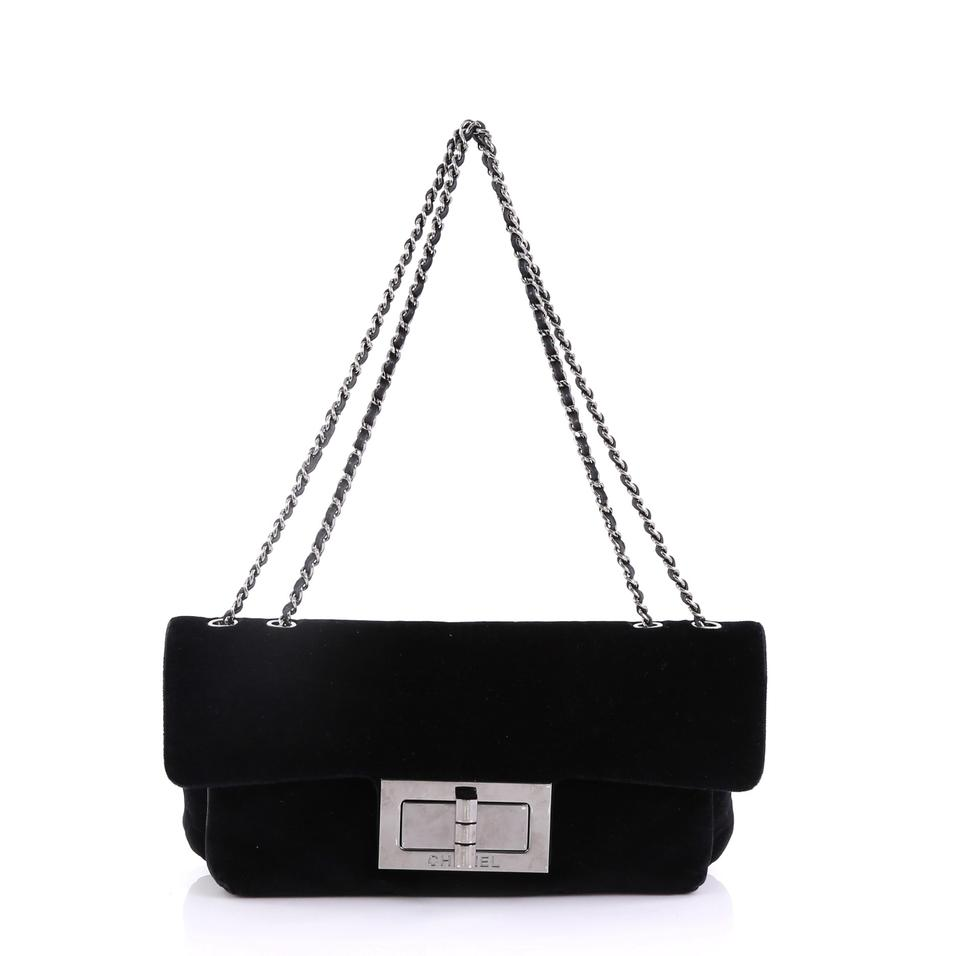 9920beebee25 Chanel Mademoiselle Giant Lock Chain Medium Black Velvet Shoulder ...
