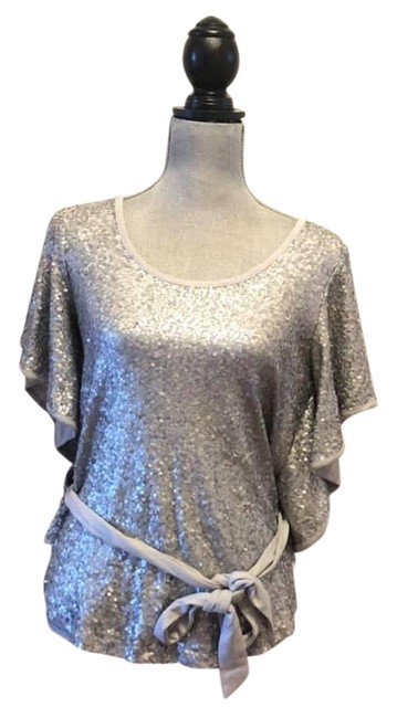 """Item - Silver """"Pearl Hthr"""" Sequin Blouse Size 6 (S)"""