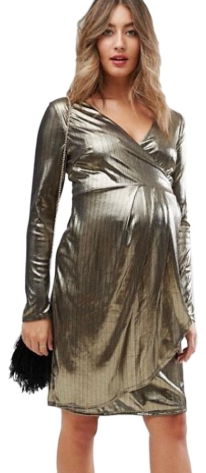 58aed3be6ad82 New Look Metallic Gold Shimmer Wrap Maternity Dress Size 10 (M ...