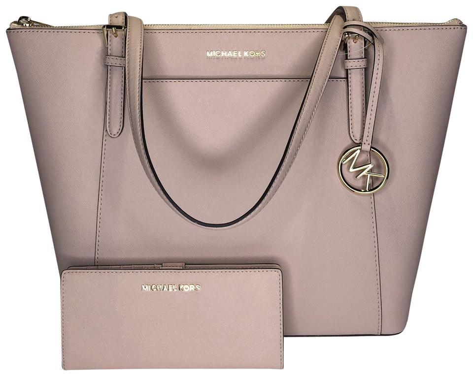 6d40f41c2b66 Michael Kors Ciara Large Tz Set Pearl Grey/Black Jet Set Trifold Satchel in  Ballet ...