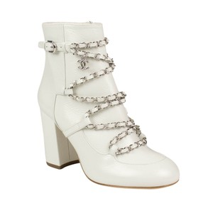 Chanel Calfskin Chain Leather Ivory Boots
