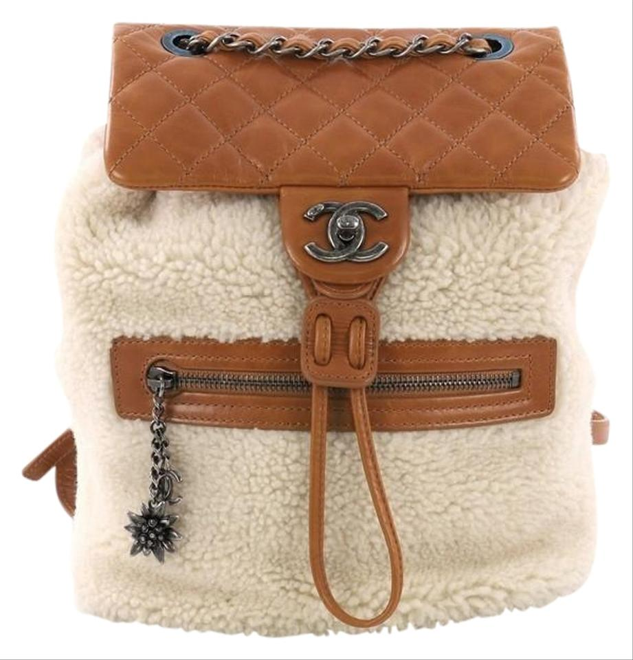 dc8065294013 Chanel Mountain Shearling with Quilted Calfskin Small Beige Leather Backpack