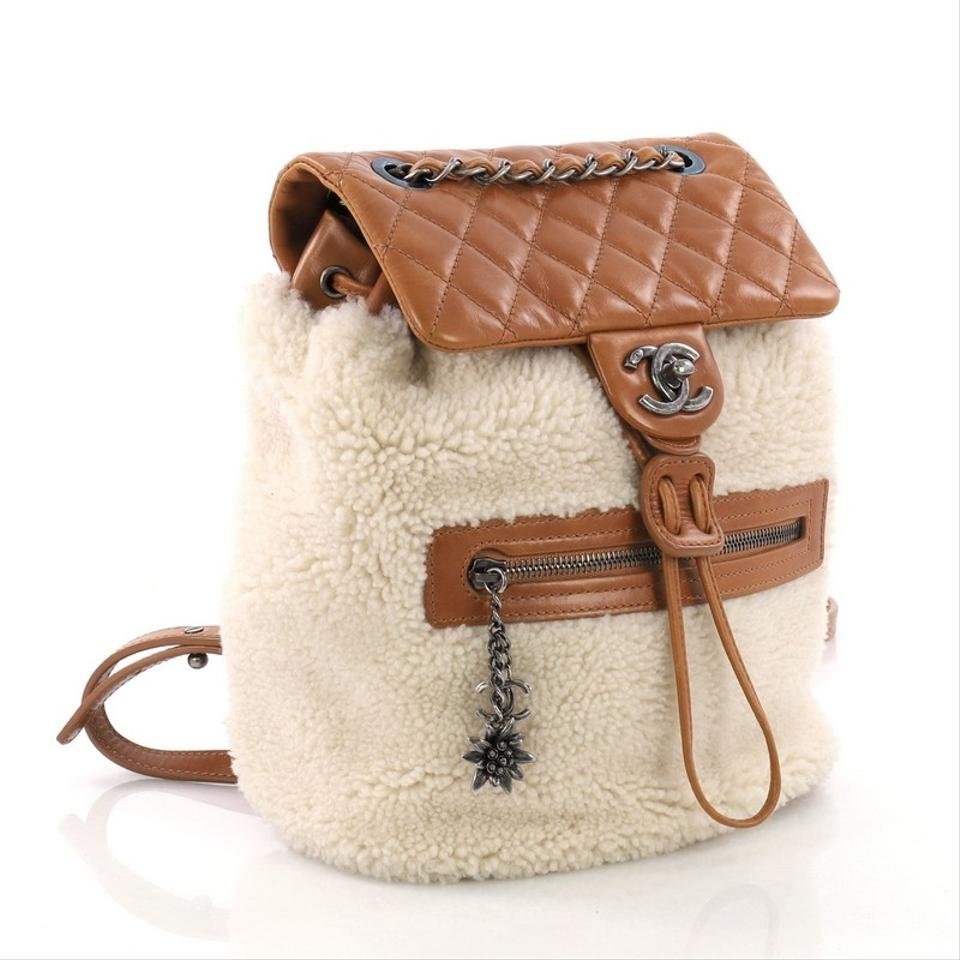 baa339fe8387 Chanel Mountain Shearling with Quilted Calfskin Small Beige Leather ...