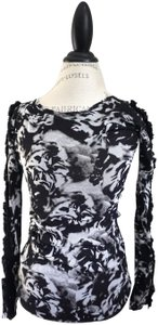 Fuzzi Tunic Embroidered Flower Floral Print Rose Print Top Black