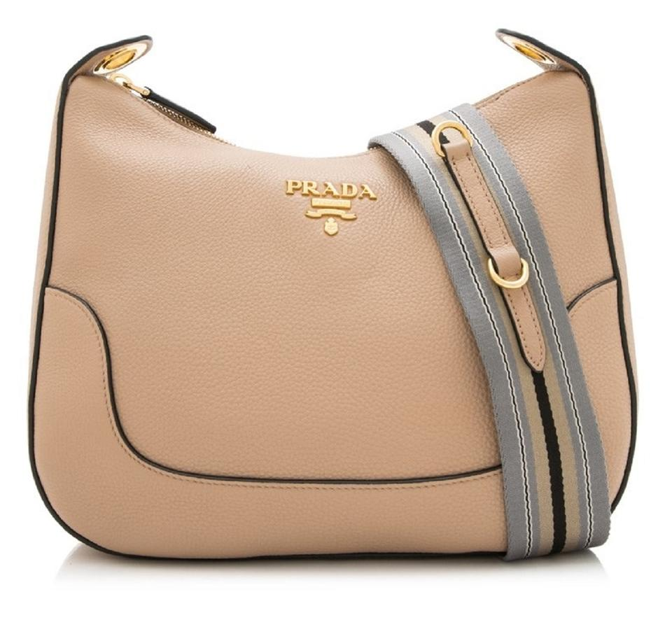 0b07f57e3b91c8 Prada Vitello Daino Tan Handbag with Web Nylon Strip 1bc052 Beige Leather  Cross Body Bag
