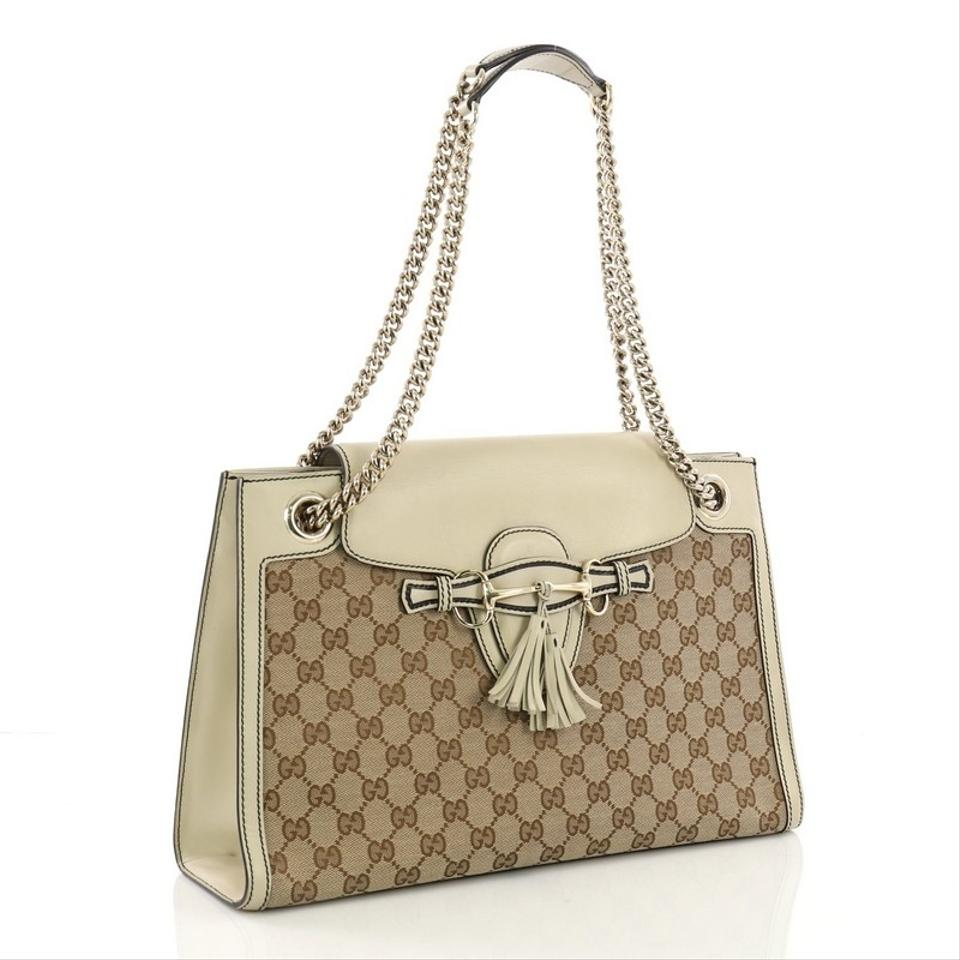 897243c032e Gucci Emily Chain Gg Large Brown Canvas Shoulder Bag - Tradesy