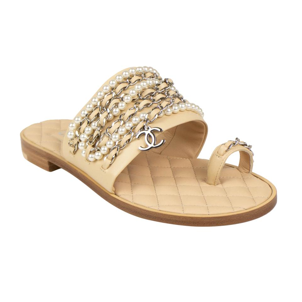 f43179a44c1 Chanel Beige Silver Chain Pearl Logo Leather Thongs Sandals Size EU ...
