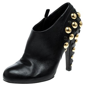 43adc5009 Gucci Black Gold Leather Babouska Stud Embellished Ankle Boots/Booties Size  US 9.5 Regular (M, B)
