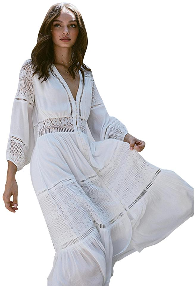 de7385b974 Spell & the Gypsy Collective White Olivia Luxe Lace Midi Mid-length Casual  Maxi Dress Size 4 (S) 19% off retail